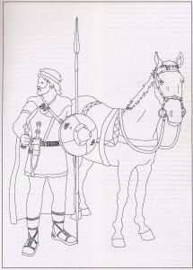 Guerrero cántabro, fase celtibérica. Siglos II y I a. C. (Según Peralta Labrador 2000: 167)