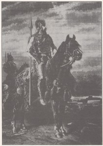 Figura 3-1: Representación idealizada de un jefe celta según grabado de Guizot de 1870. (Reproducido de Ruiz Zapatero 1993: 29).